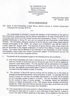 30 Days Non-Productivity Linked Bonus (Ad-hoc Bonus) granted to Central Government Employees for the year 2018-19