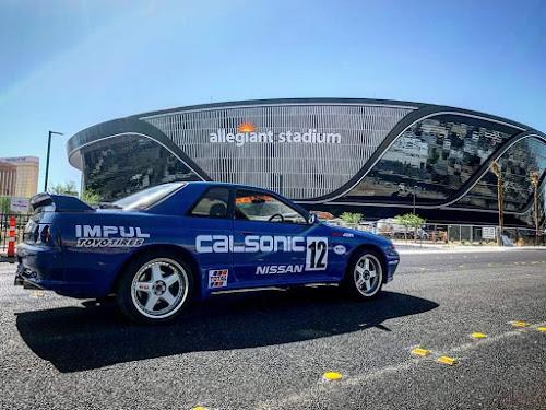 Calsonic R32 GT-R tribute at RentJDM and Allegiant Stadium in Las Vegas Nevada