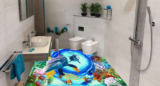 3D Floor Tiles for Bathroom
