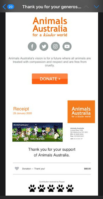 Animals Australia Receipt 28-1-20 $60 ©BionicBasil® The Pet Parade 337
