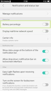 cara menampilkan persentase baterai di hp oppo