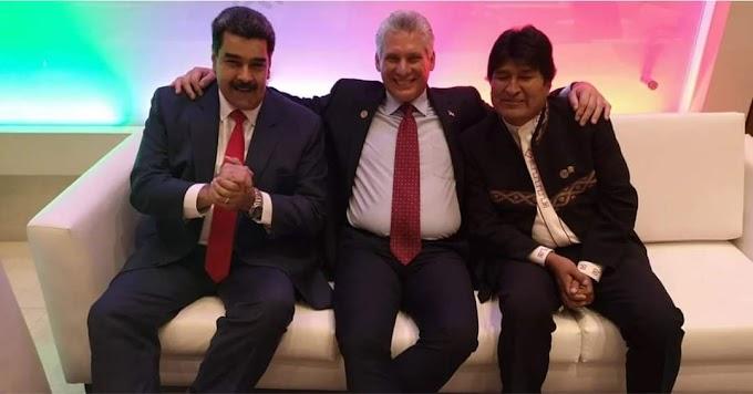 Díaz-Canel, Maduro y Evo Morales vieron pelea de Ugás y Pacquiao en Bar frente a la oficina de intereses