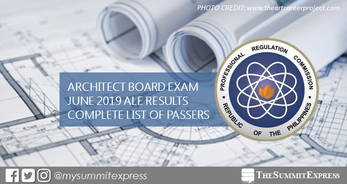 FULL RESULTS: June 2019 Architecture board exam ALE list of passers, top 10