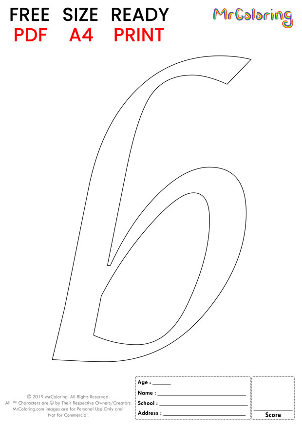 Alphabet letter b coloring pages lowercase caligraphy for kids