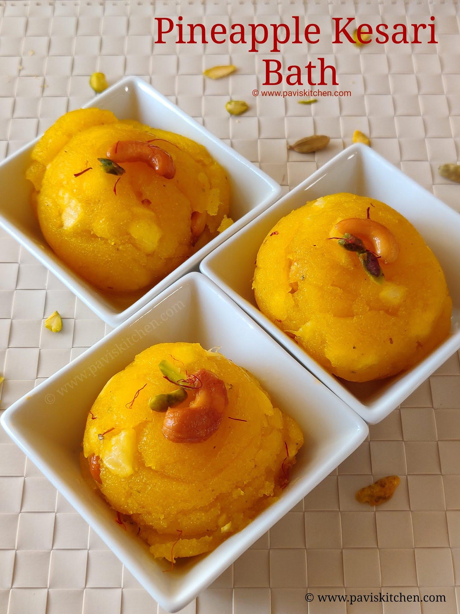 Pineapple kesari recipe | pineapple rava kesari | pineapple kesari bath
