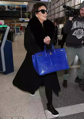 photo of kris jenner blue $95000 bag