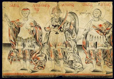Οι στρατιωτικοί άγιοι Δημήτριος, Μερκούριος και Αρτέμιος, Οι ιεράρχες Θεοφύλακτος και Κυπριανός