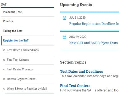 SAT test registration open - last date and registration process 2020