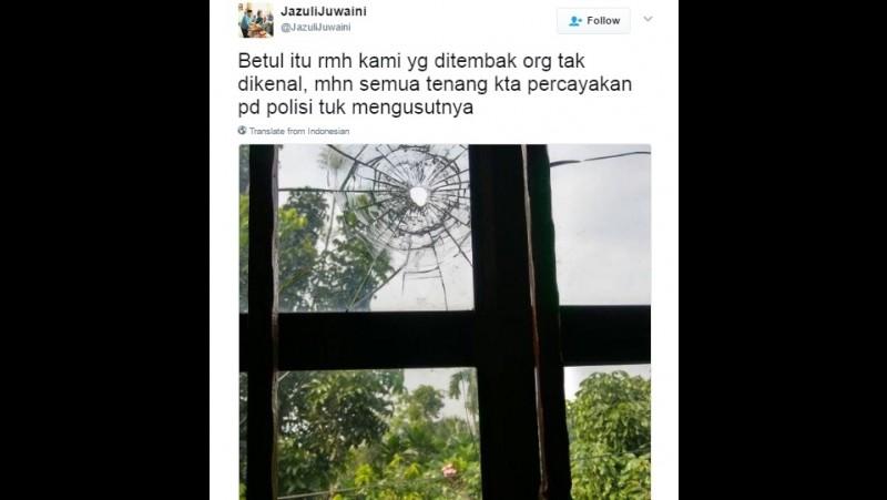 Jazuli Juwaini mengaku rumahnya ditembak