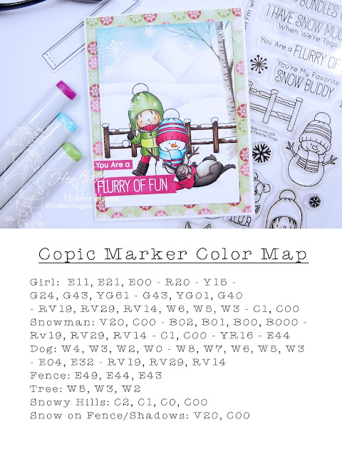 Heathers Hobbie Haven│Copic Marker Color Map│My Favorite Things│Snow Buddies