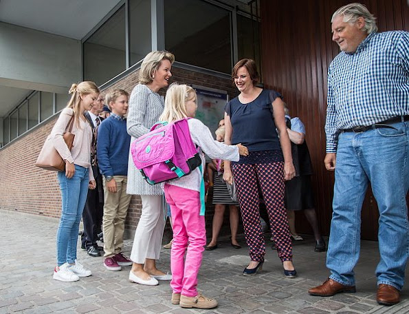 Queen Mathilde takes her kids, Prince Emmanuel, Princess Eleonore, Prince Gabriel, Crown Princess Elisabeth, to their first school day in Brussels
