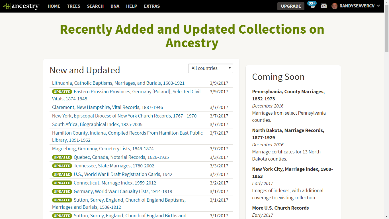 Genea-Musings: Added or Updated Databases at Ancestry com