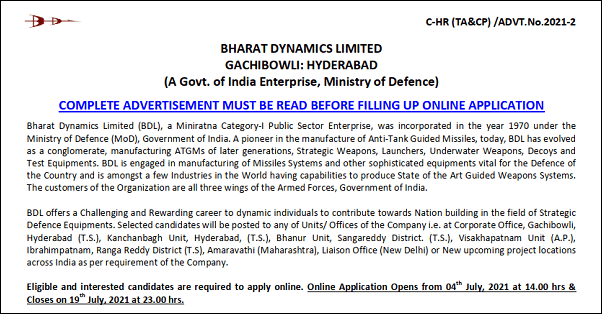 Bharat Dynamics Limited (BDL) Management Trainee and Other Posts Recruitment 2021