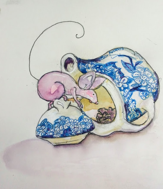blue tea pot with mouse watercolor painting