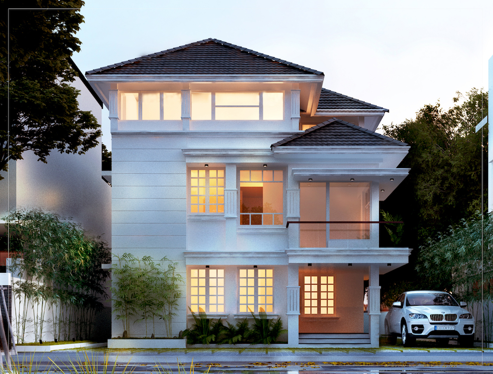 35 lakhs budget colonial style residence 4 bed room residence