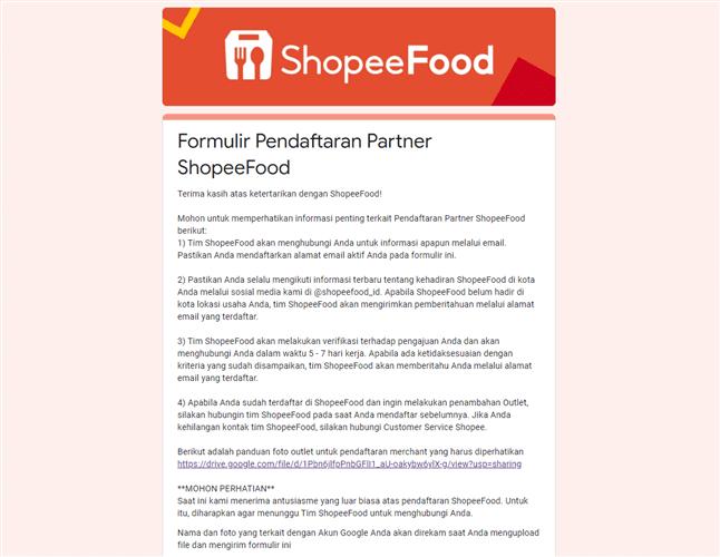 link pendaftaran shopee food merchant