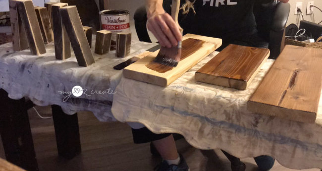 staining wood to build serving tables