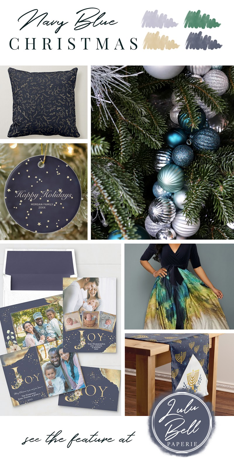 Navy Blue Gold and Green Christmas Color Palette Inspiration - Throw Pillow, Tree Photography, Holiday Ornaments, Stationery Set, Party Dress, and Table Runner