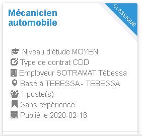 Mécanicien automobile Employeur : SOTRAMAT Tébessa