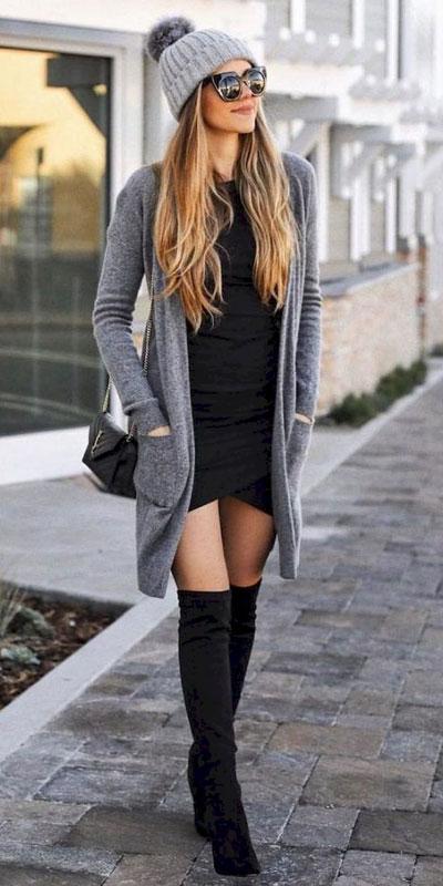 24 Cute Fall Outfits You Should Already Own. Fall Style & Fashion for Women via higiggle.com | black mini dress with cardigan | #cardigan #falloutfits #fashion #minidress
