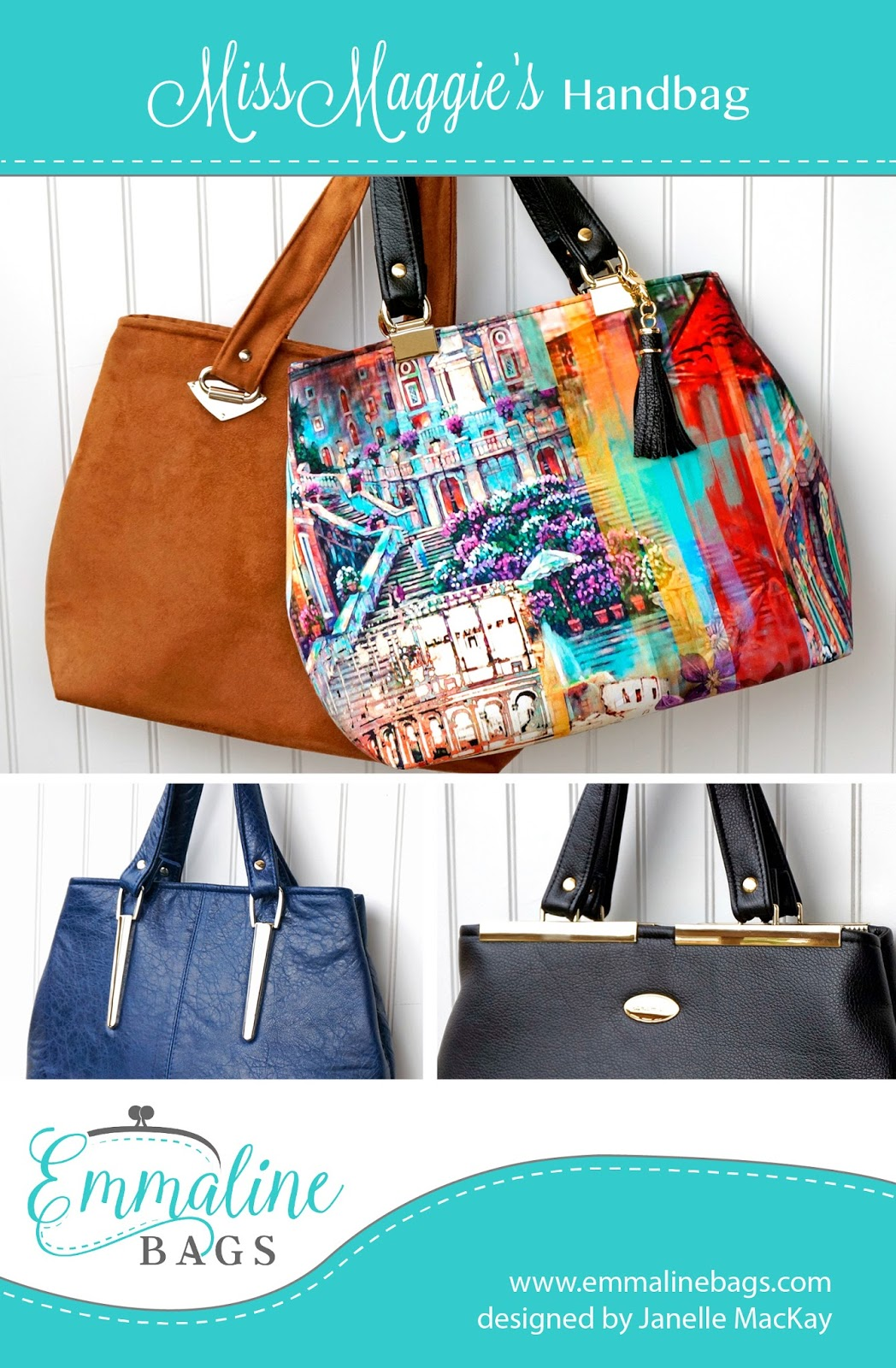 Zippered Book Cover Pattern Free ~ Emmaline bags sewing patterns and purse supplies how to