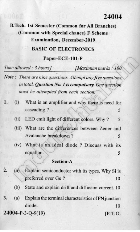 Download Electrical Technology - Question Paper - B.Tech. 1st year - December 2019 for free