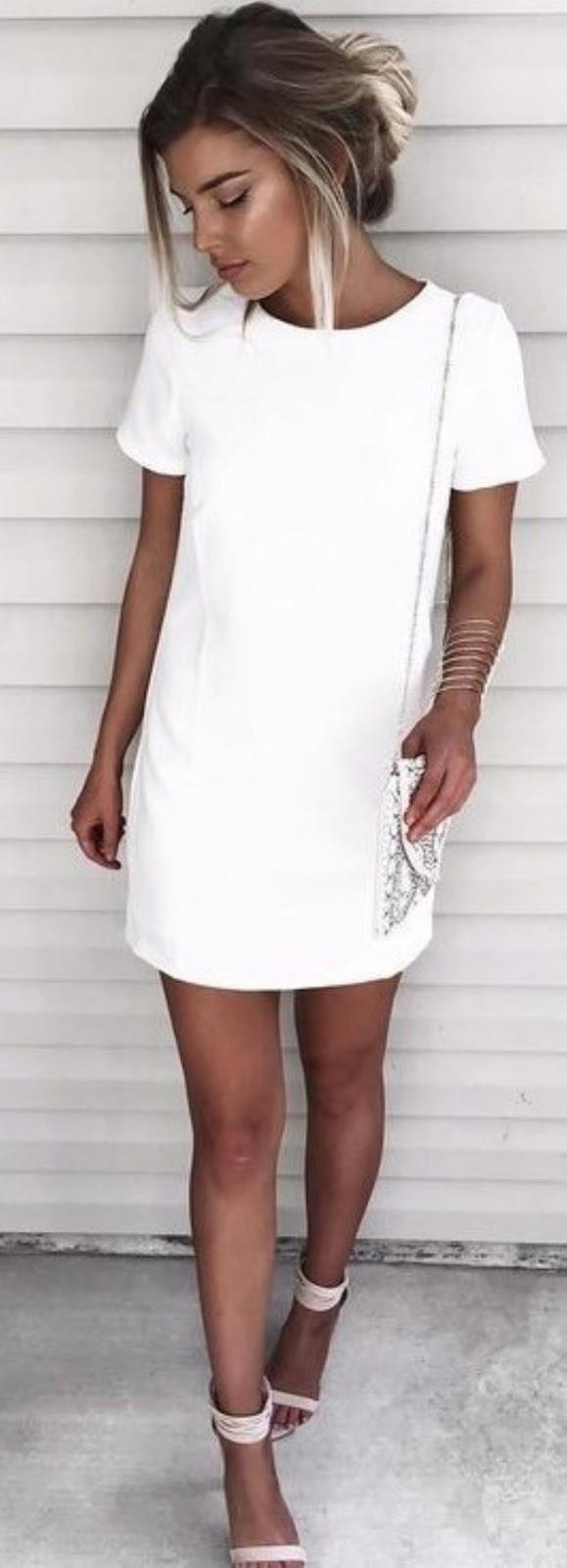 white on white | t-shirt dress + bag + heels