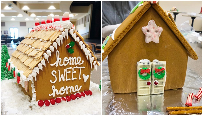 Scenes from a Gingerbread House Decorating Event + Secrets to Building a Gingerbread House that Won't Collapse