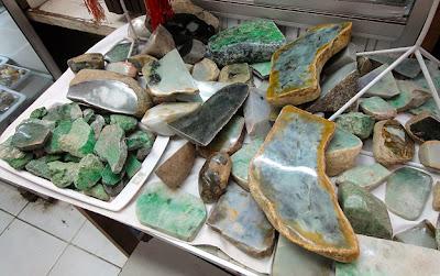 rough Burmese jade blocks