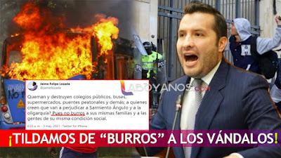 """""""Tildamos de """"burros"""" a los vándalos, no a los manifestantes"""": congresista Jaime Felipe Lozada"""