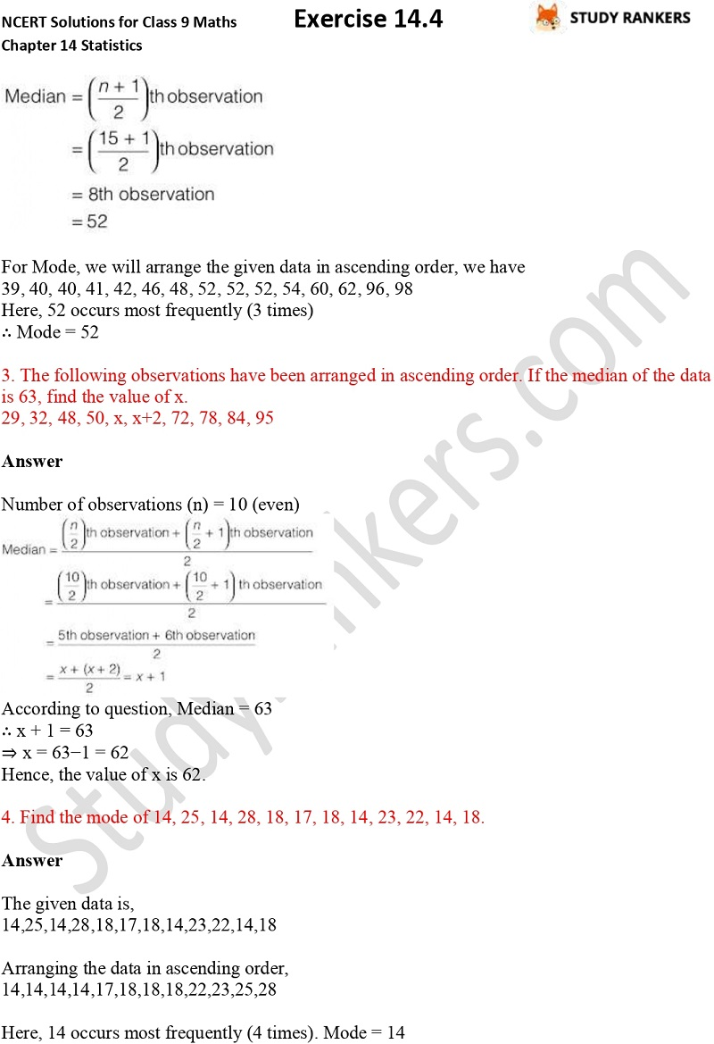 NCERT Solutions for Class 9 Maths Chapter 14 Statistics Exercise 14.4 Part 2