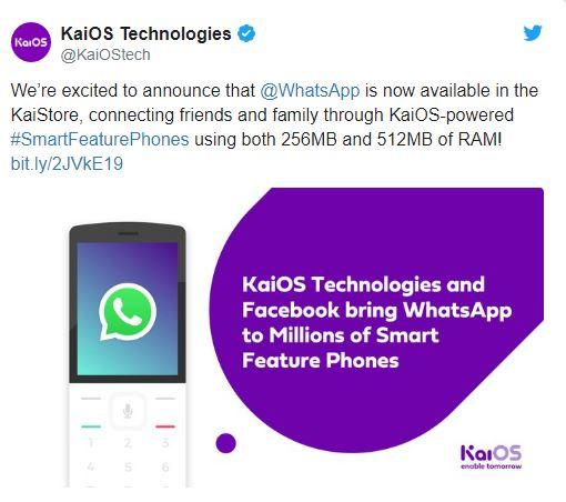 تطبيق WhatsApp متاح الان لاجهزة نظام التشغيل KaiOs