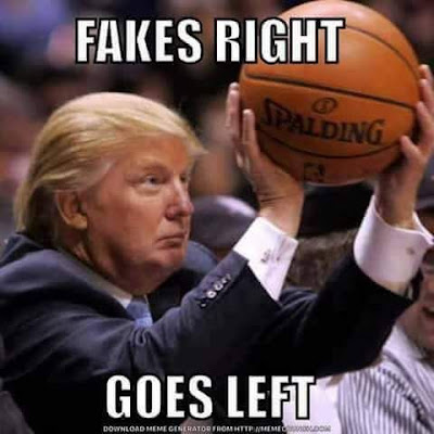 Funny Trump Fakes Right Goes Left Meme Picture