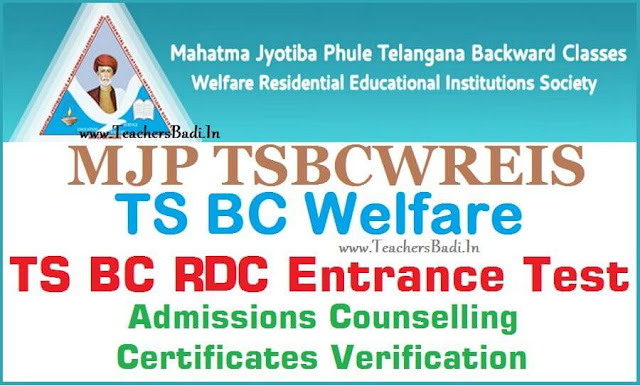 TS MJP BC Welfare RDC CET,Degree Admissions Counseling,Certificate Verification