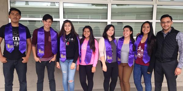 Graduating seniors from Castle Park High School with their Talent Search advisor, Fabian Escobedo.