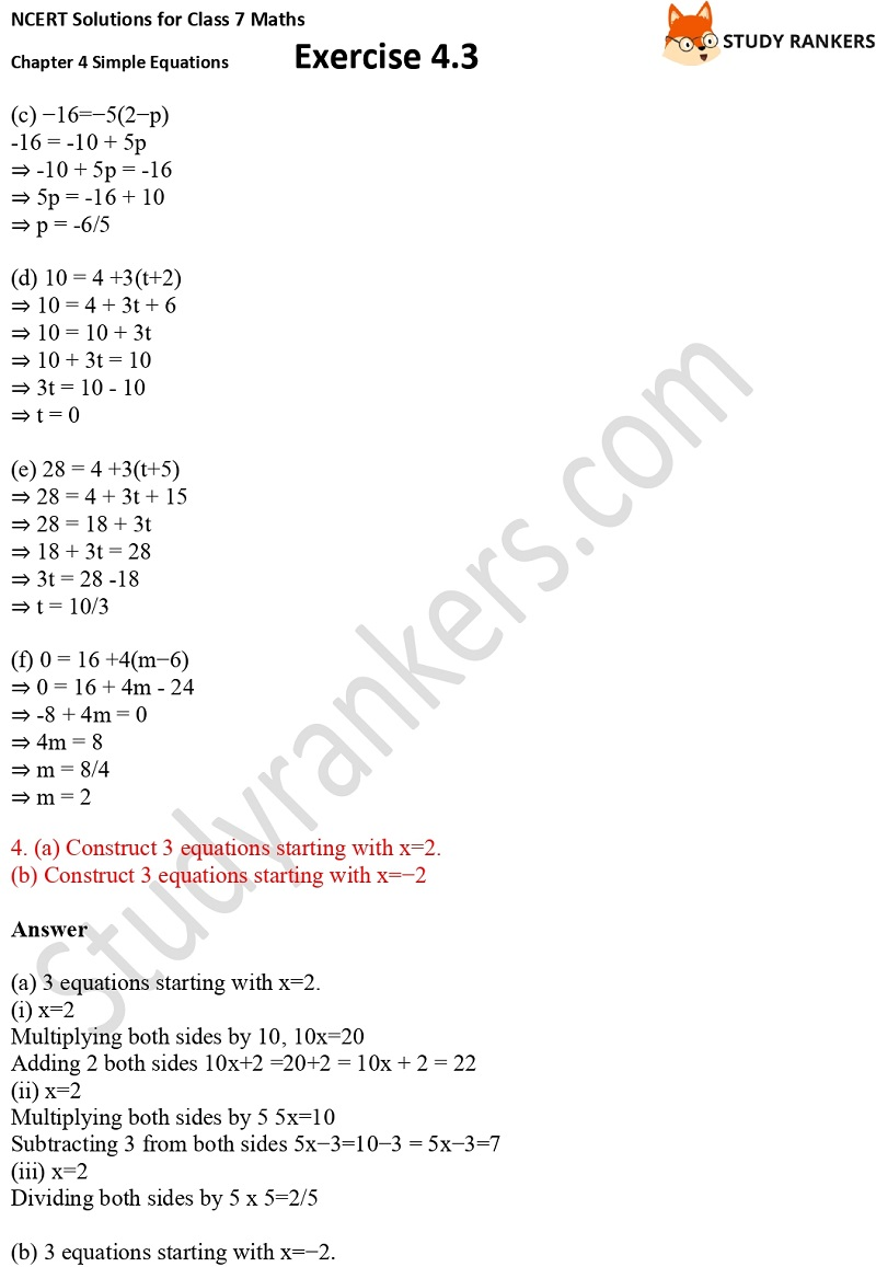 NCERT Solutions for Class 7 Maths Ch 4 Simple Equations Exercise 4.3 5