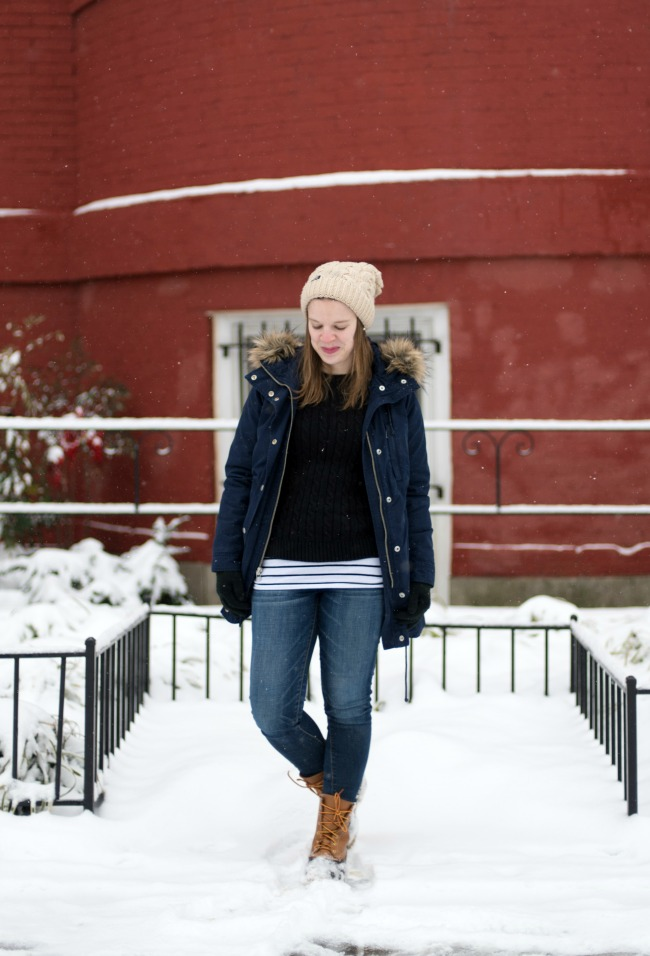 The Bean Boots | Something Good, ll bean boots, duck boots, jeggings, american eagle outfitters, beanie, ll bean double L knit sweater, cable knit sweater, sherpa parka,