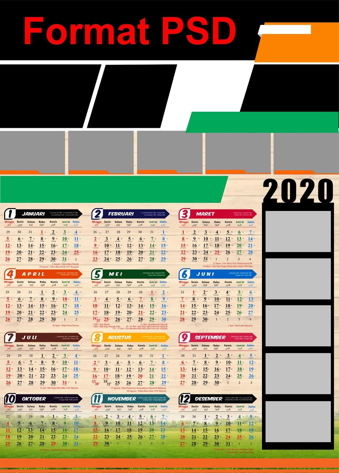 Kalender Indonesia 2020: Template Kalender Dinding Desain ...