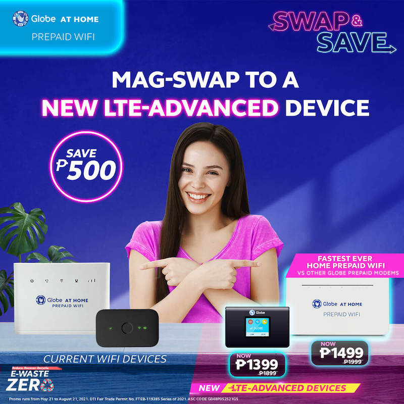 """Deal: Get up to PHP 500 off on new modem purchase until August 21 with Globe's """"Swap and Save"""""""
