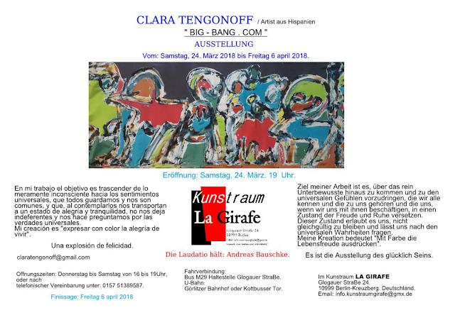 Invitació exposición Clara Tengonoff en Kustraum Le Girafe Berlín.