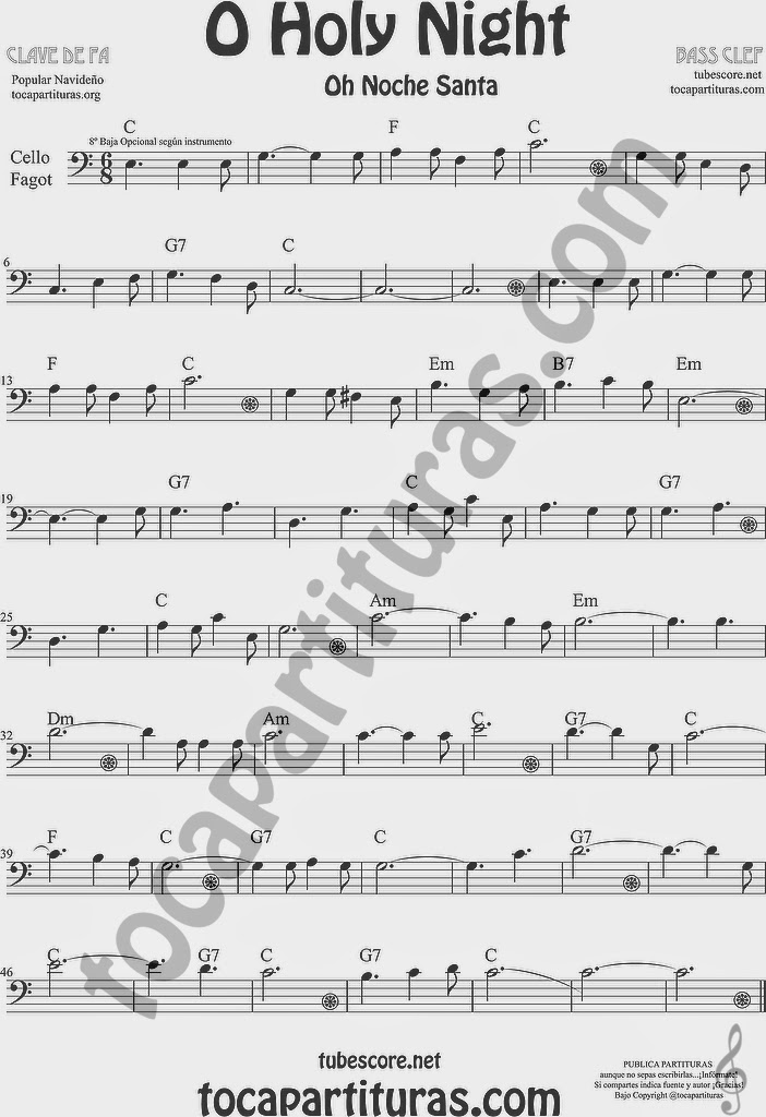 O Holy Night Partitura de Violonchelo y Fagot Sheet Music for Cello and Bassoon Music Scores Oh Noche Santa