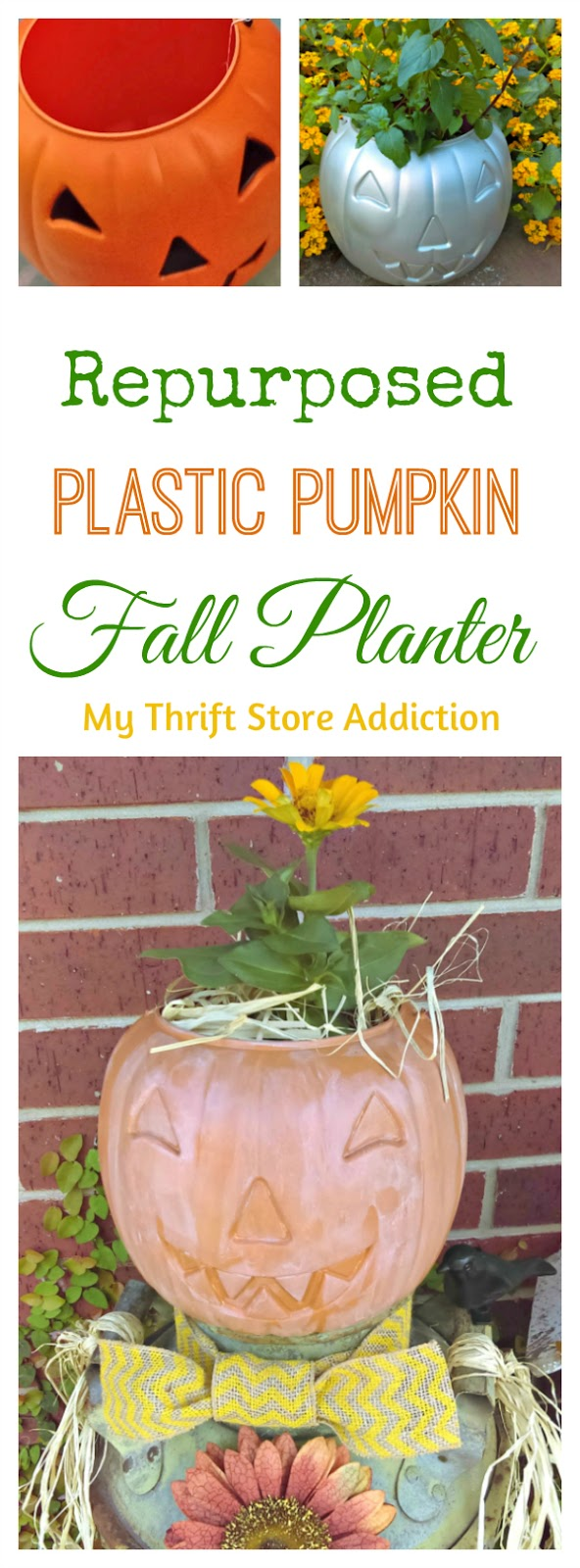 repurposed plastic pumpkin planter