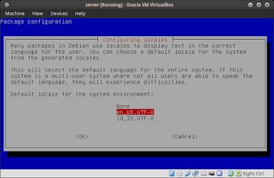 lalu pilih yang en_US.UTF-8 UTF-8