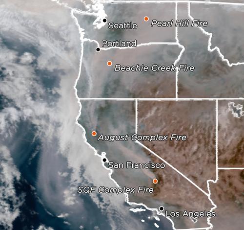 west coast fire smoke satellite map