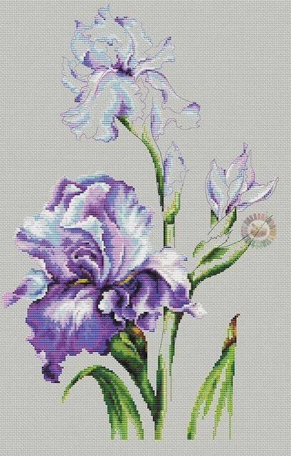 wzory kwiatów krzyżykami
