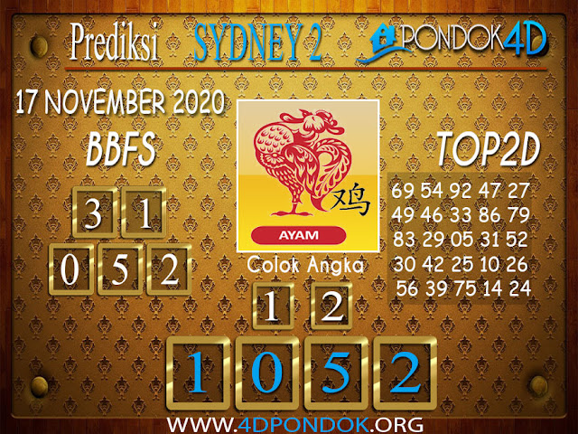 Prediksi Togel SYDNEY2 PONDOK4D 17 NOVEMBER 2020