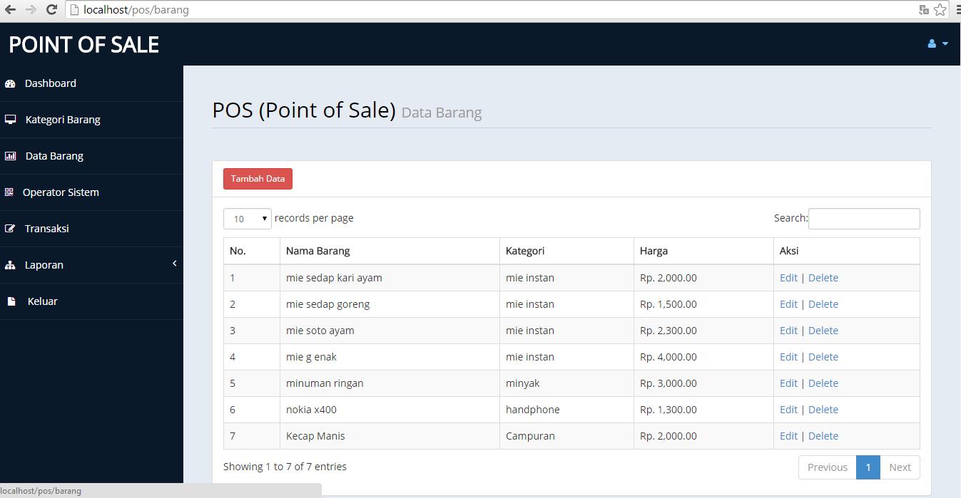 Aplikasi Penjualan Barang Codeigniter POS ( Point Of Sales ) - Lapakcode