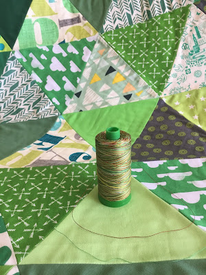Green Triangle Quilt and initial thought of Dream Green batting, aurifil thread