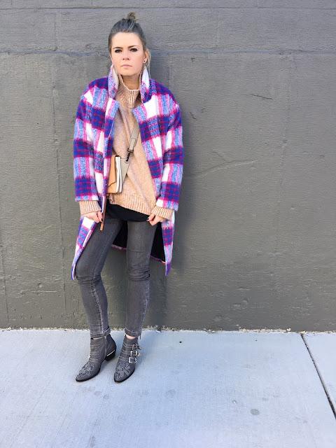 Purple check coat