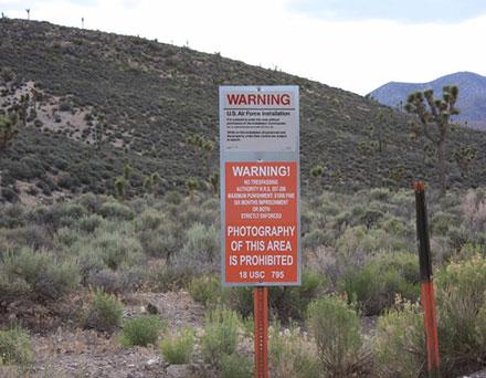 Chose not to take a selfie at this sign off of the Cedar Gate into Area 51 (Source: Wikipedia)